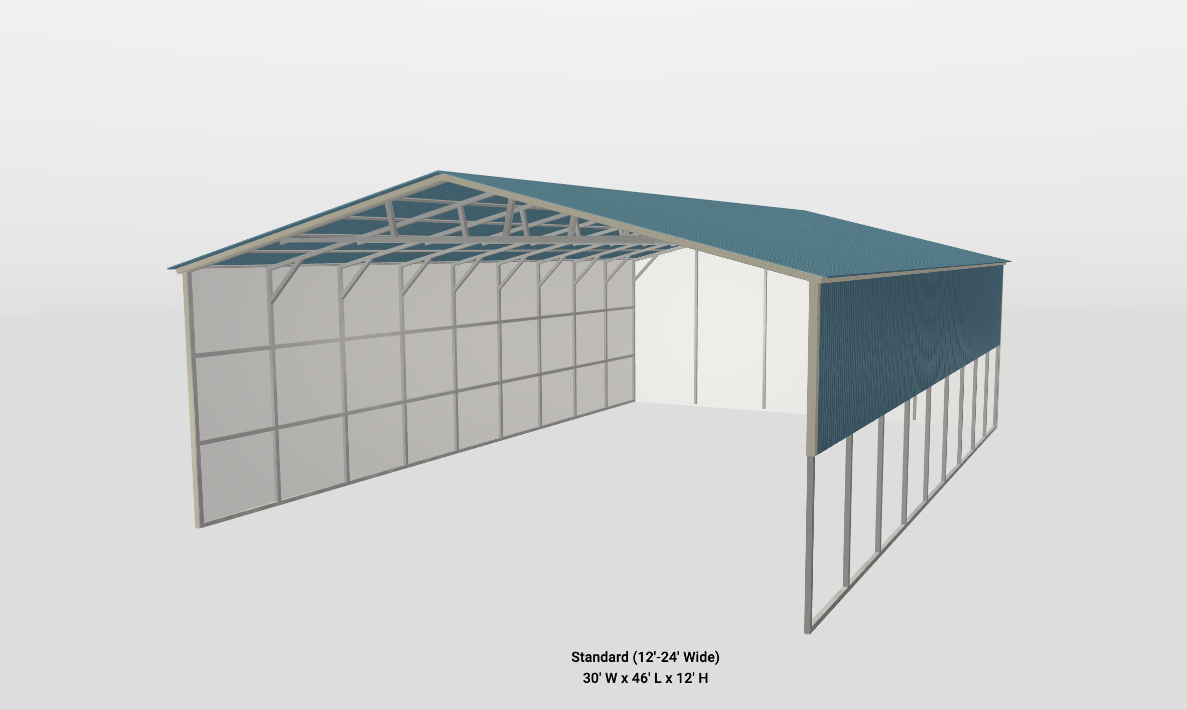 standard metal shelter with blue roof and walls