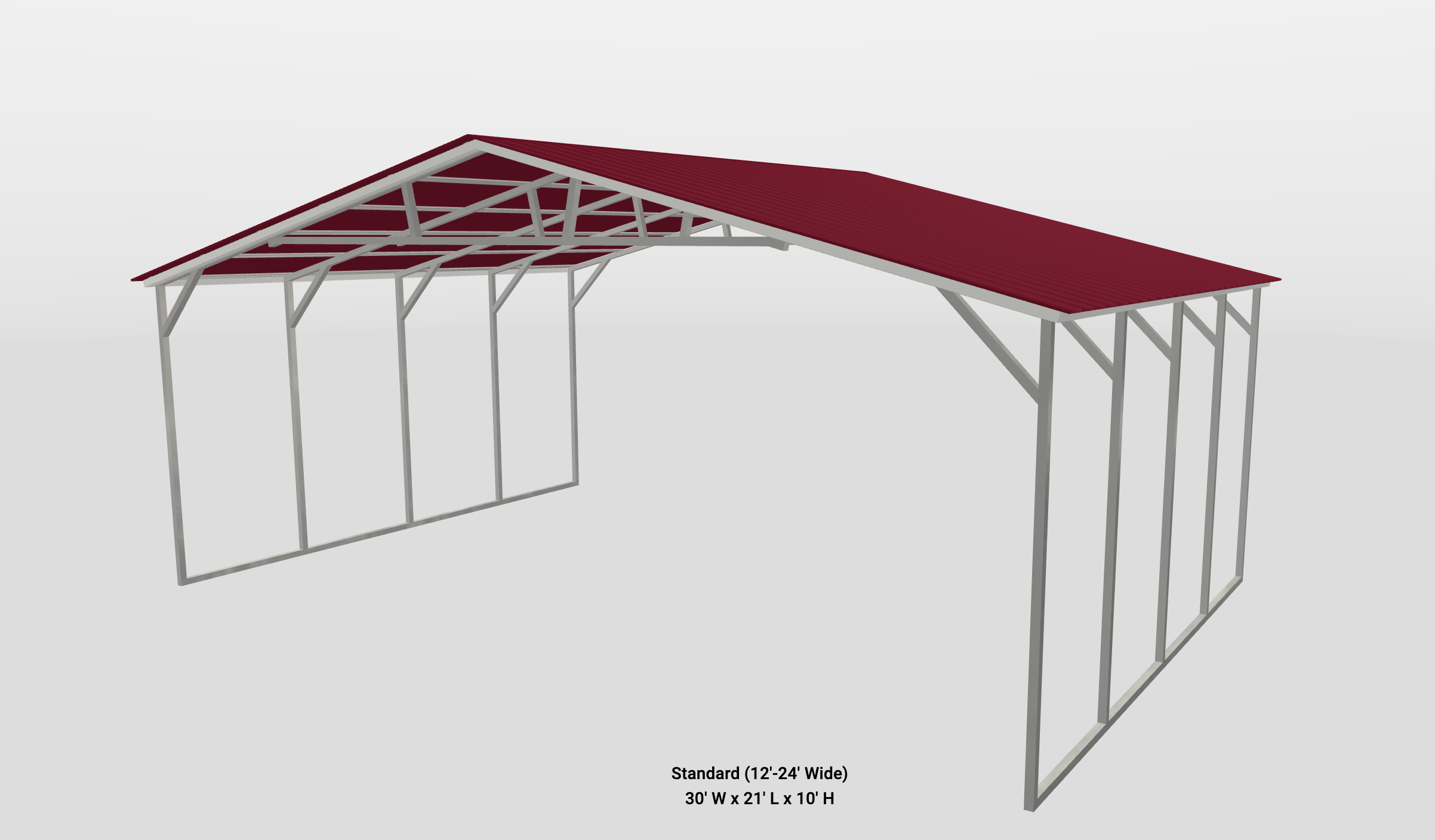 Standard metal building with read roof and white trim